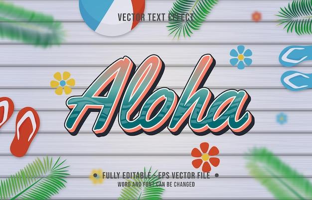 Effet de texte style dégradé aloha avec fond de thème de saison estivale