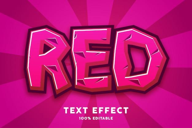Effet de texte de style dessin animé jeu rouge