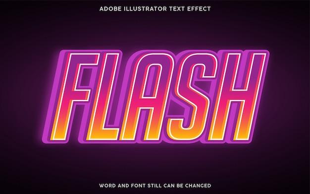 Effet de texte de style flash avec dégradé violet et jaune