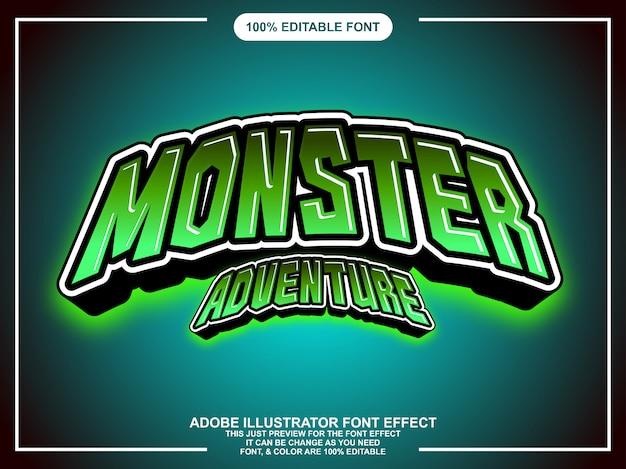 Effet de texte de style graphique modifiable monstre vert
