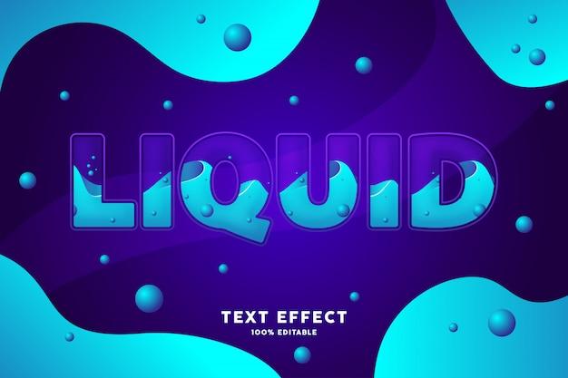 Effet de texte de style liquide bleu violet frais