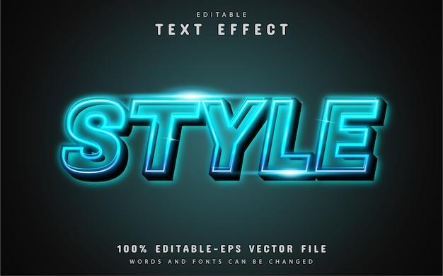 Effet de texte de style néon bleu