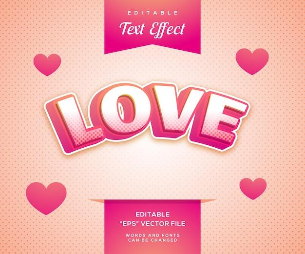 Effet de texte de style rose d'amour
