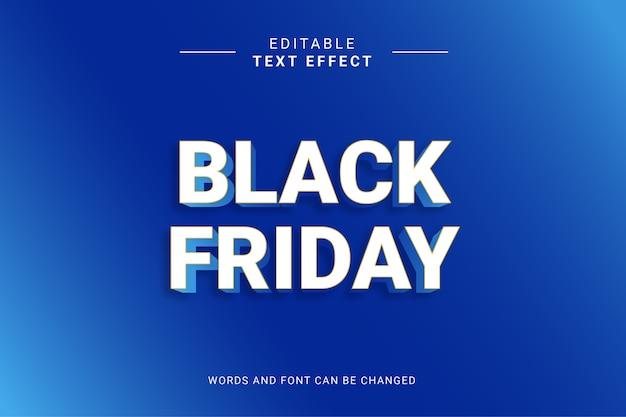 Effet de texte de style simple vendredi noir couleur bleue