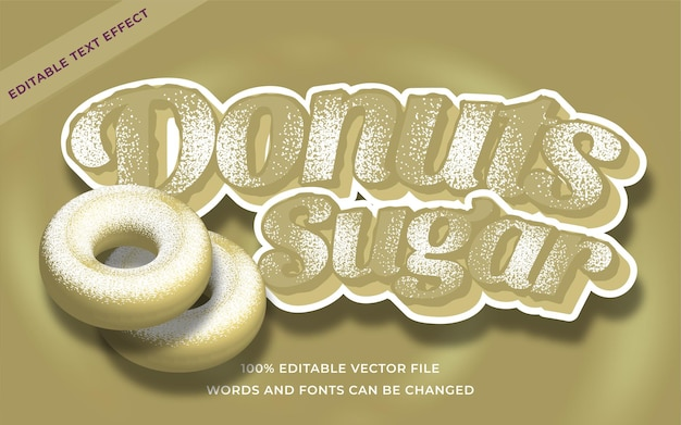 Effet de texte de sucre de beignets modifiable pour l'illustrateur