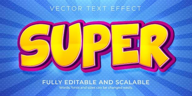 Effet de texte super dessin animé style de texte comique et drôle modifiable