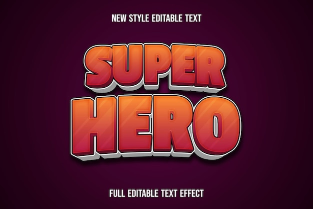 Effet de texte super héros couleur dégradé orange et blanc