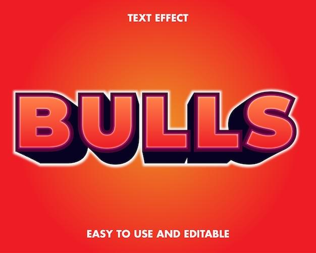 Effet de texte de taureaux. effet de police modifiable.