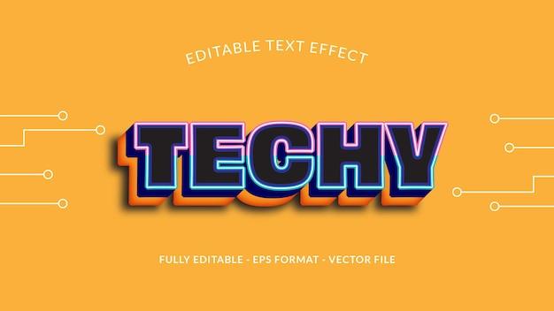 Effet de texte de technologie modifiable sur fond jaune