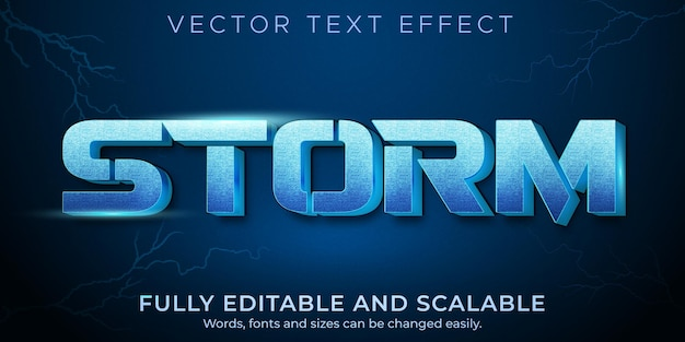 Effet de texte de tempête, style de texte modifiable de tonnerre et d'éclair