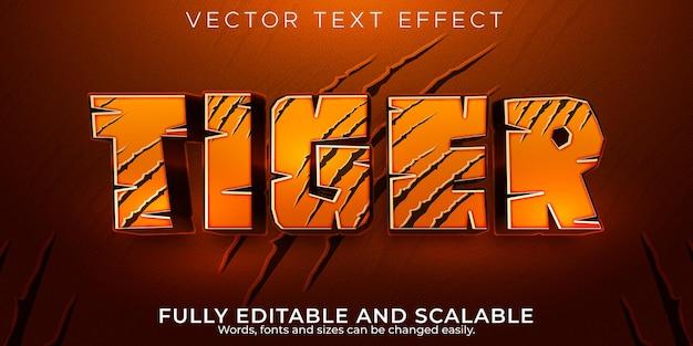 Effet de texte tigre, style de texte modifiable sauvage et jungle