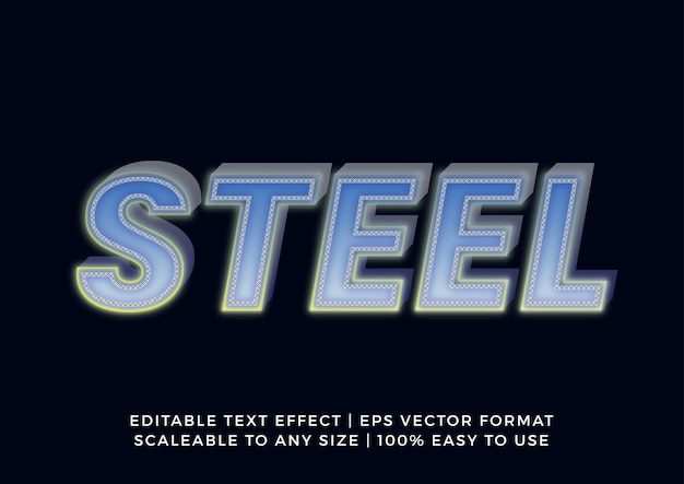 Effet de texte de titre en acier de fer