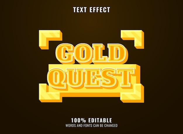 Effet de texte de titre de logo de jeu audacieux 3d de quête d'or de bande dessinée drôle