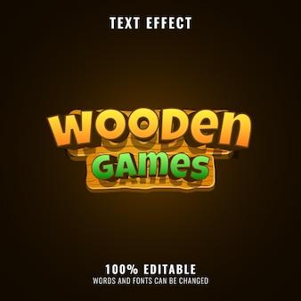 Effet de texte de titre de logo de jeu en bois coloré