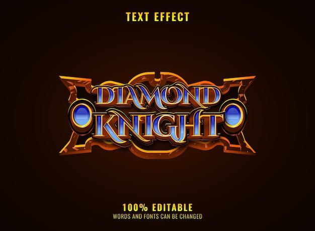 Effet de texte de titre de logo de jeu de chevalier de diamant médiéval rpg