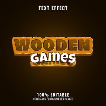 Effet de texte de titre de logo de jeu de fantaisie de jeux en bois drôles