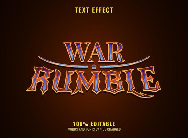 Effet de texte de titre de logo de jeu médiéval de rpg de guerre de diamant d'or de fantaisie