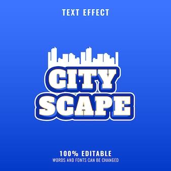 Effet de texte de titre de logo de jeu moderne de paysage urbain