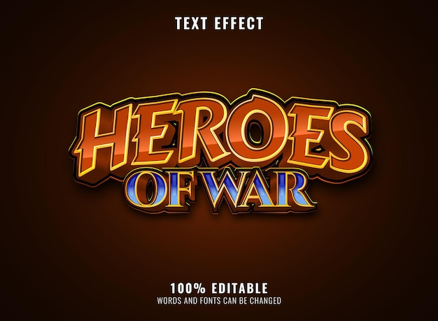 Effet de texte de titre de logo de jeu modifiable de héros de diamant d'or de fantaisie