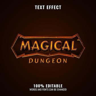 Effet de texte de titre de logo de jeu rpg doré fantaisie de donjon magique