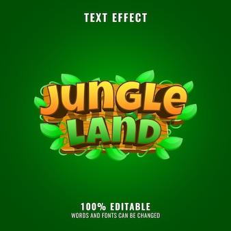 Effet de texte de titre de logo de jeu de terre de jungle en bois drôle