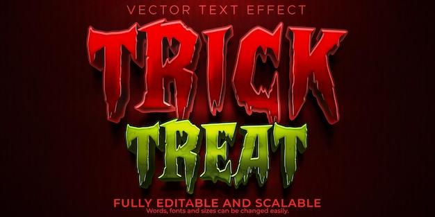 Effet de texte trick or treat, style de texte modifiable citrouille et halloween