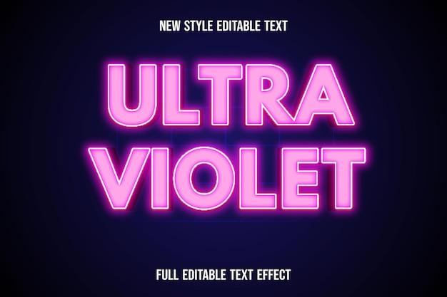 Effet de texte ultra violet sur dégradé blanc et rose
