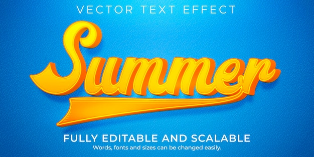 Effet de texte de vacances d'été, style de texte de voyage et de plage modifiable