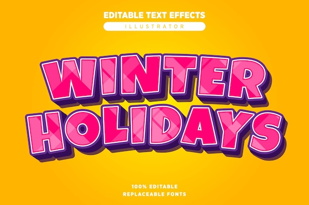 Effet de texte de vacances d'hiver modifiable