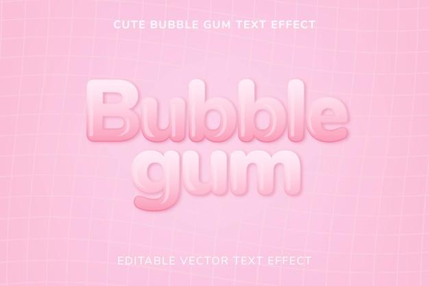 Effet de texte vectoriel modifiable mignon bubble-gum