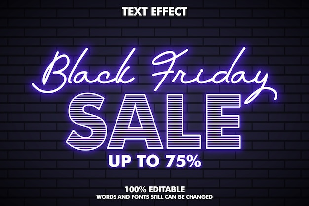 Effet de texte vendredi noir avec effet néon, bannière vendredi noir pour la promotion