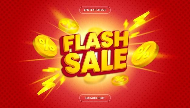 Effet de texte de vente flash 3d avec un thème de couleur jaune et rouge.