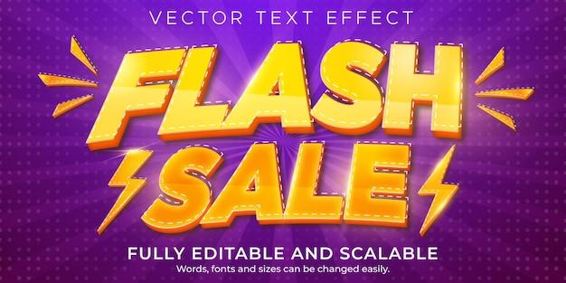 Effet de texte de vente flash, remise modifiable et style de texte de l'offre