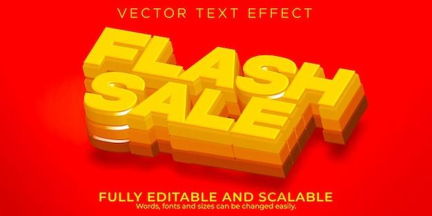 Effet de texte de vente flash, remise modifiable et style de texte d'offre