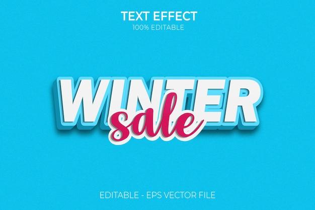 Effet de texte de vente d'hiver nouveau vecteur premium de style de texte gras modifiable créatif en 3d