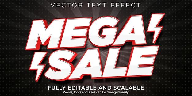 Effet de texte de vente méga, achats modifiables et style de texte d'offre