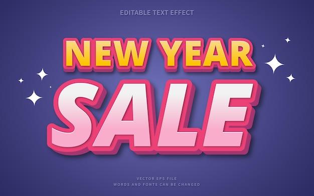 Effet de texte de vente de nouvel an parfait pour l'élément de texte de promotion sur la bannière web ou la publication sur les réseaux sociaux