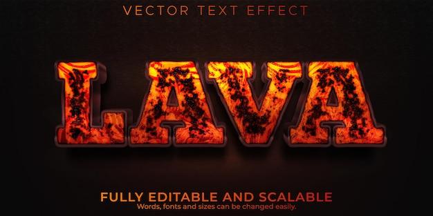 Effet de texte de volcan de lave, style de texte modifiable chaud et magma