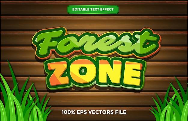 Effet de texte de zone forestière, dessin animé modifiable et style de texte de forêt vecteur premium