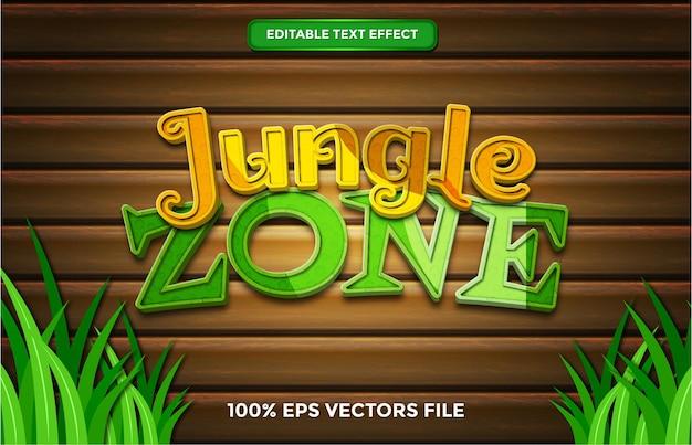 Effet de texte de la zone de la jungle, style de texte modifiable de dessin animé et de forêt vecteur premium