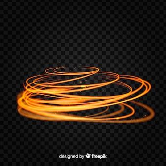 Effet de tourbillon de lumière brillante avec fond transparent