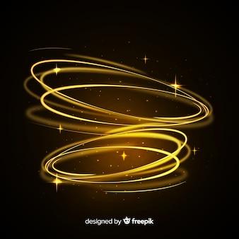 Effet tourbillonnant de lumière brillante avec fond transparent