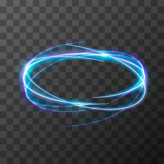Effet de traînée flou au néon au mouvement. anneaux lumineux sur fond transparent.