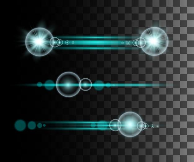 Effet transparent bleu lueur, lumière parasite, explosion, paillettes, ligne, flash solaire, étincelle et étoiles. pour l'art de modèle d'illustration, pour noël célébrer, rayon d'énergie flash magique
