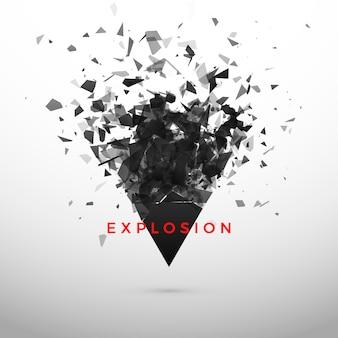 Effet triangle noir éclaté et destruction. nuage abstrait de morceaux et de fragments après explosion. illustration sur fond gris