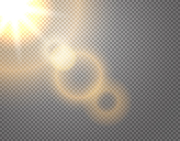 Effet de vecteur de soleil isolé sur fond transparent