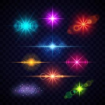 Effets de lumière flare lentille couleur réaliste, jeu de lumières de fête vecteur. éclairs multicolores illu