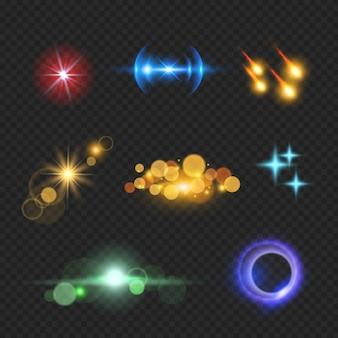Effets de lumière parasite brillants. bokeh de lumière solaire réaliste