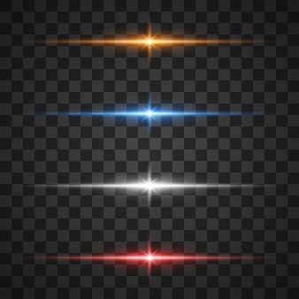 Effets de lumière rougeoyante, étoile éclatant d'étincelles sur transparent
