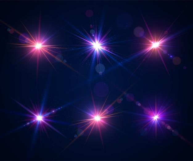 Effets lumineux des flashs et des fusées éclairantes. éblouissement de l'objectif de l'appareil photo lors d'une prise de vue en plein soleil